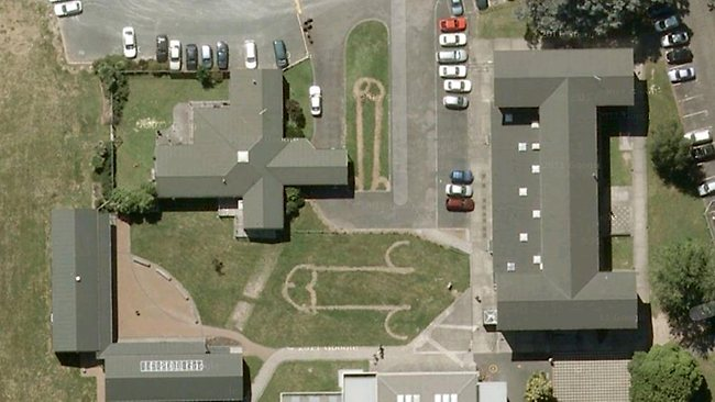students prank school and google earth with giant grass penises