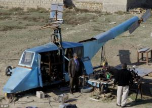 Iraqi man makes homemade helicopter